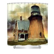 Block Island Light Shower Curtain by Lourry Legarde