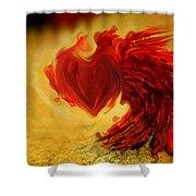Blood Red Heart Shower Curtain by Linda Sannuti