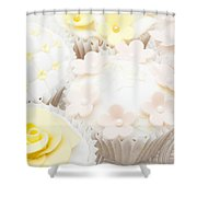 Blossoms And Bows Cupcake Shower Curtain by Anne Gilbert
