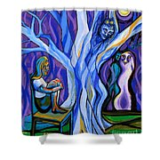Blue and Purple Girl With Tree and Owl Shower Curtain by Genevieve Esson