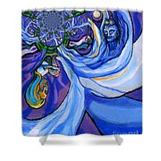Blue And Purple Girl With Tree And Owl Upside Down Shower Curtain by Genevieve Esson