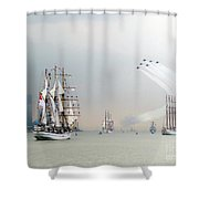 Blue Angels Over Ships N.y.c. Shower Curtain by Ed Weidman