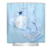 Blue Baby Clothes For Infant Boy Shower Curtain by Elena Elisseeva