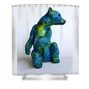 Blue Bear Shower Curtain by Derrick Higgins