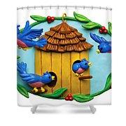 Blue Birds Fly Home Shower Curtain by Amy Vangsgard