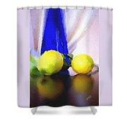 Blue Bottle And Lemons Shower Curtain by Ben and Raisa Gertsberg