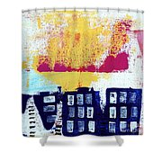 Blue Buildings Shower Curtain by Linda Woods