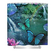 Blue Butterfly Dream Shower Curtain by Alixandra Mullins