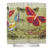 Blue Butterfly - Orange on Green - s02a Shower Curtain by Variance Collections