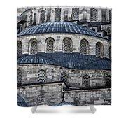 Blue Dawn Blue Mosque Shower Curtain by Joan Carroll