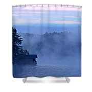 Blue Dawn Mist Shower Curtain by Susan Leggett