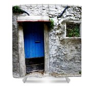 Blue Door  On Rustic House Shower Curtain by Lainie Wrightson