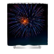 Blue Firework Flower Shower Curtain by Robert Bales