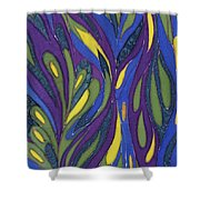 Blue Green Purple Abstract Silk Design Shower Curtain by Sharon Freeman