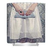 Blue Handbag Shower Curtain by Joana Kruse