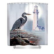 Blue Heron In The Circle Of Light Shower Curtain by Gina Femrite