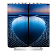 Blue Hour Diptych Shower Curtain by Adrian Evans