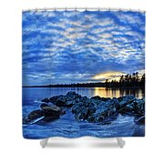 Blue Ice At Sunset Shower Curtain by Bill Caldwell -        ABeautifulSky Photography