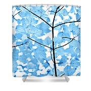 Blue Leaves Melody Shower Curtain by Jennie Marie Schell