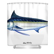 Blue Marlin Shower Curtain by Charles Harden