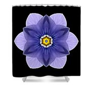 Blue Pansy I Flower Mandala Shower Curtain by David J Bookbinder