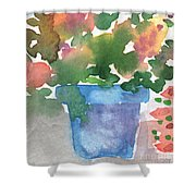 Blue Pot Of Flowers Shower Curtain by Linda Woods