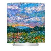 Blue Ridge Wildflowers Shower Curtain by Kendall Kessler
