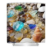 Blue Seaglass Art Prints Shells Agates Rocks Shower Curtain by Baslee Troutman