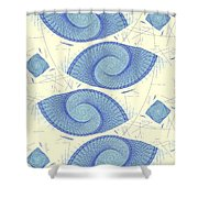 Blue Shells Shower Curtain by Anastasiya Malakhova