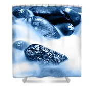 Blue Stream Shower Curtain by Les Cunliffe