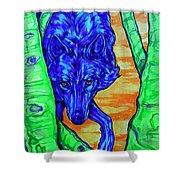Blue Wolf Shower Curtain by Derrick Higgins