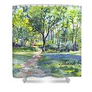 Bluebell Woods  Thank You Shower Curtain by Carol Wisniewski