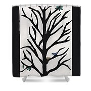 Bluebird In A Pear Tree Shower Curtain by Barbara St Jean