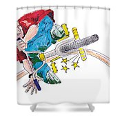 Bmx Drawing Peg Grind Shower Curtain by Mike Jory