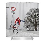 Bmx Flatland In The Snow - Monika Hinz Jumping Shower Curtain by Matthias Hauser