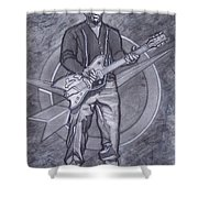 Bo Diddley - Have Guitar Will Travel Shower Curtain by Sean Connolly