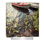Boat At Dock  Shower Curtain by Elena Elisseeva