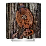 Boat - Block And Tackle Shower Curtain by Paul Ward