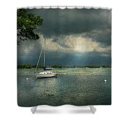 Boat - Canandaigua Ny - Tranquility Before The Storm Shower Curtain by Mike Savad