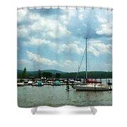 Boat - Sailboat At Dock Cold Springs Ny Shower Curtain by Susan Savad