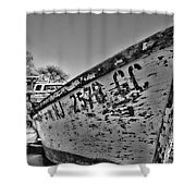 Boat - State Of Decay In Black And White Shower Curtain by Paul Ward