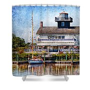 Boat - Tuckerton Seaport - Tuckerton Lighthouse Shower Curtain by Mike Savad
