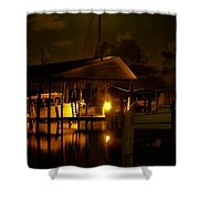 Boathouse Night Glow Shower Curtain by Michael Thomas