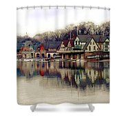 Boathouse Row Philadelphia Shower Curtain by Tom Gari Gallery-Three-Photography