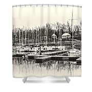 Boats And Cottages In B/w Shower Curtain by Greg Jackson