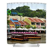 Boats At Clarke Quay Singapore River Shower Curtain by Imran Ahmed