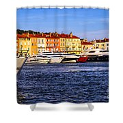 Boats at St.Tropez harbor Shower Curtain by Elena Elisseeva