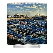 Boats In Essaouira Morocco Harbor Shower Curtain by David Smith
