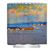 Boats In Piermont Harbor Ny Shower Curtain by Ylli Haruni