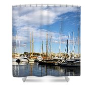 Boats In Port Vell Shower Curtain by Fabrizio Troiani